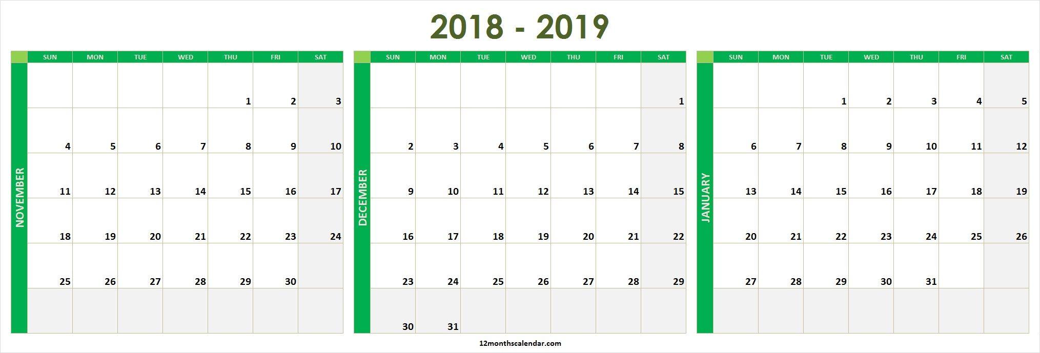 November December 2020 January 2021 Calendar Printable Free