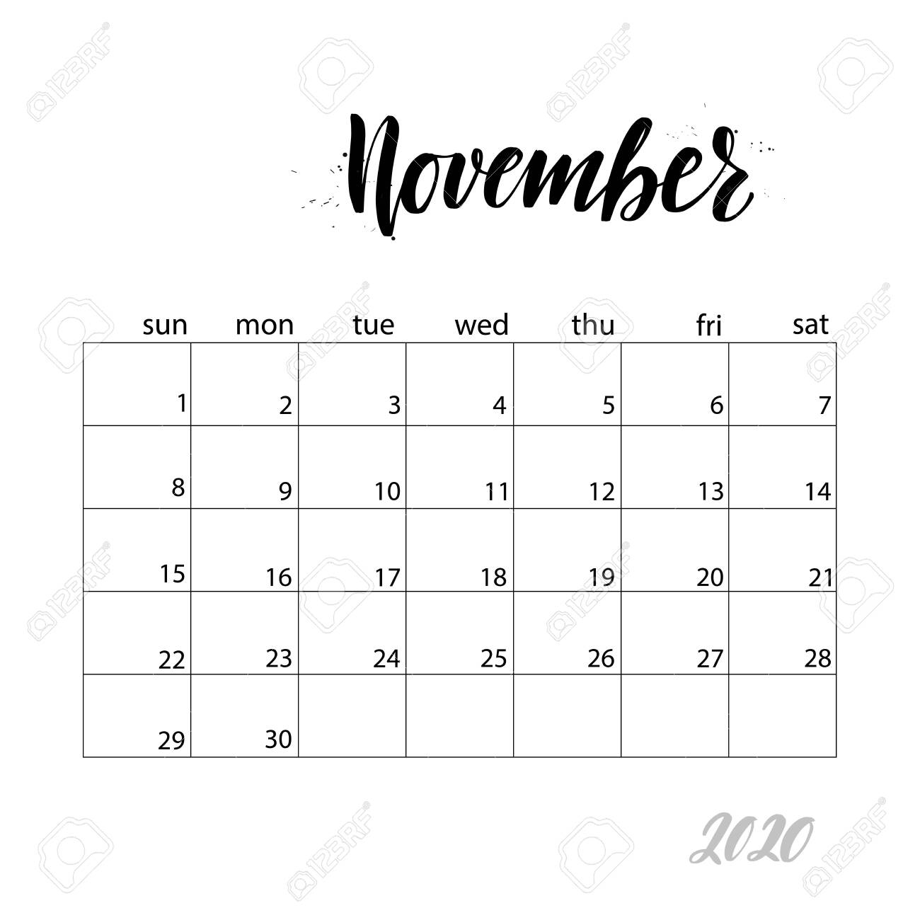 November. Monthly Calendar For 2020 Year. Handwritten Modern..