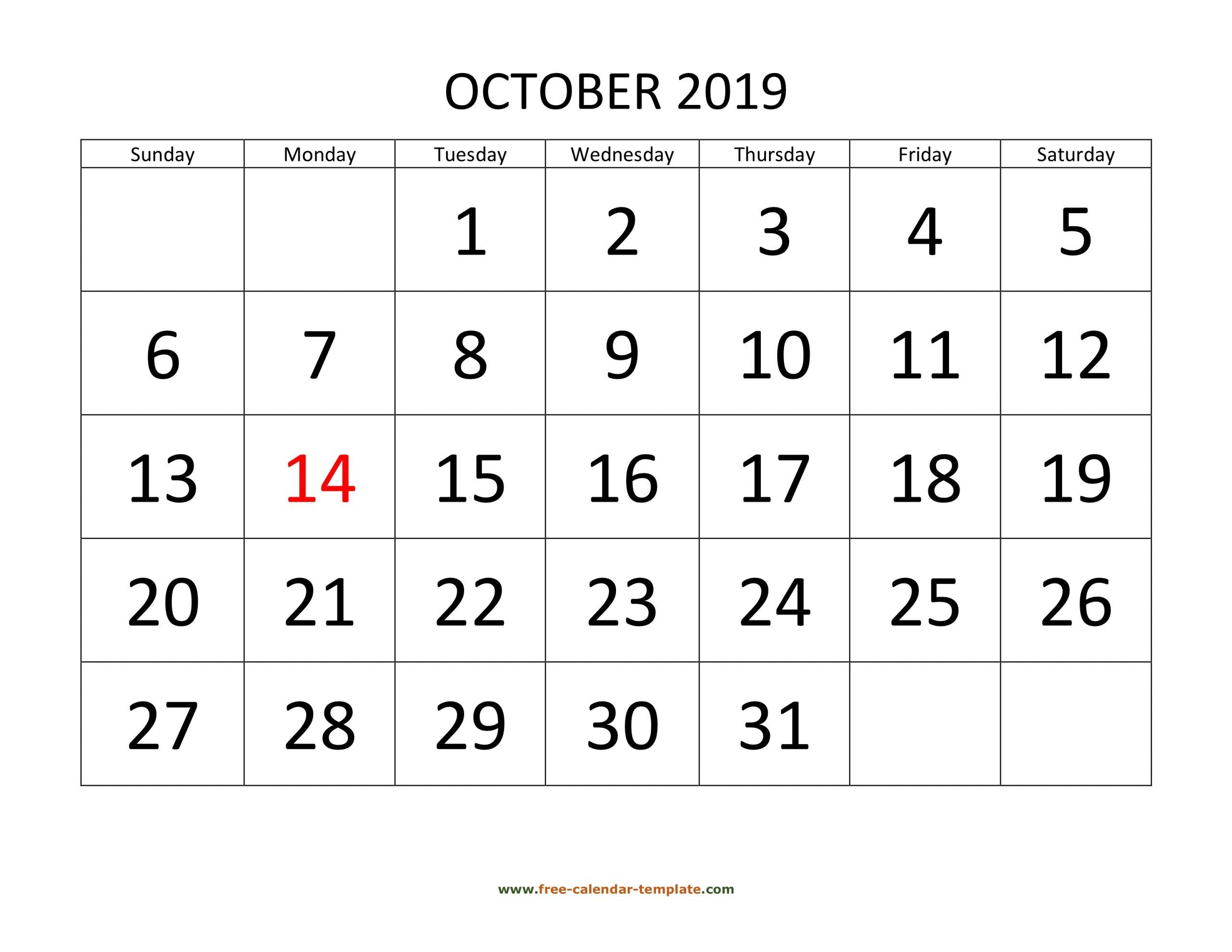 October 2019 Calendar Designed With Large Font (Horizontal