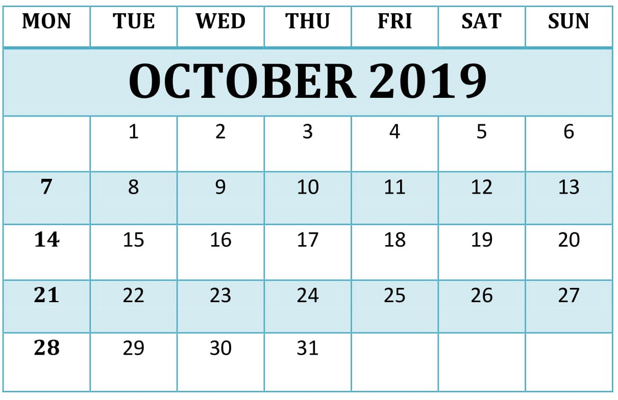October 2019 Calendar Template - Freelatest Calendar - Medium