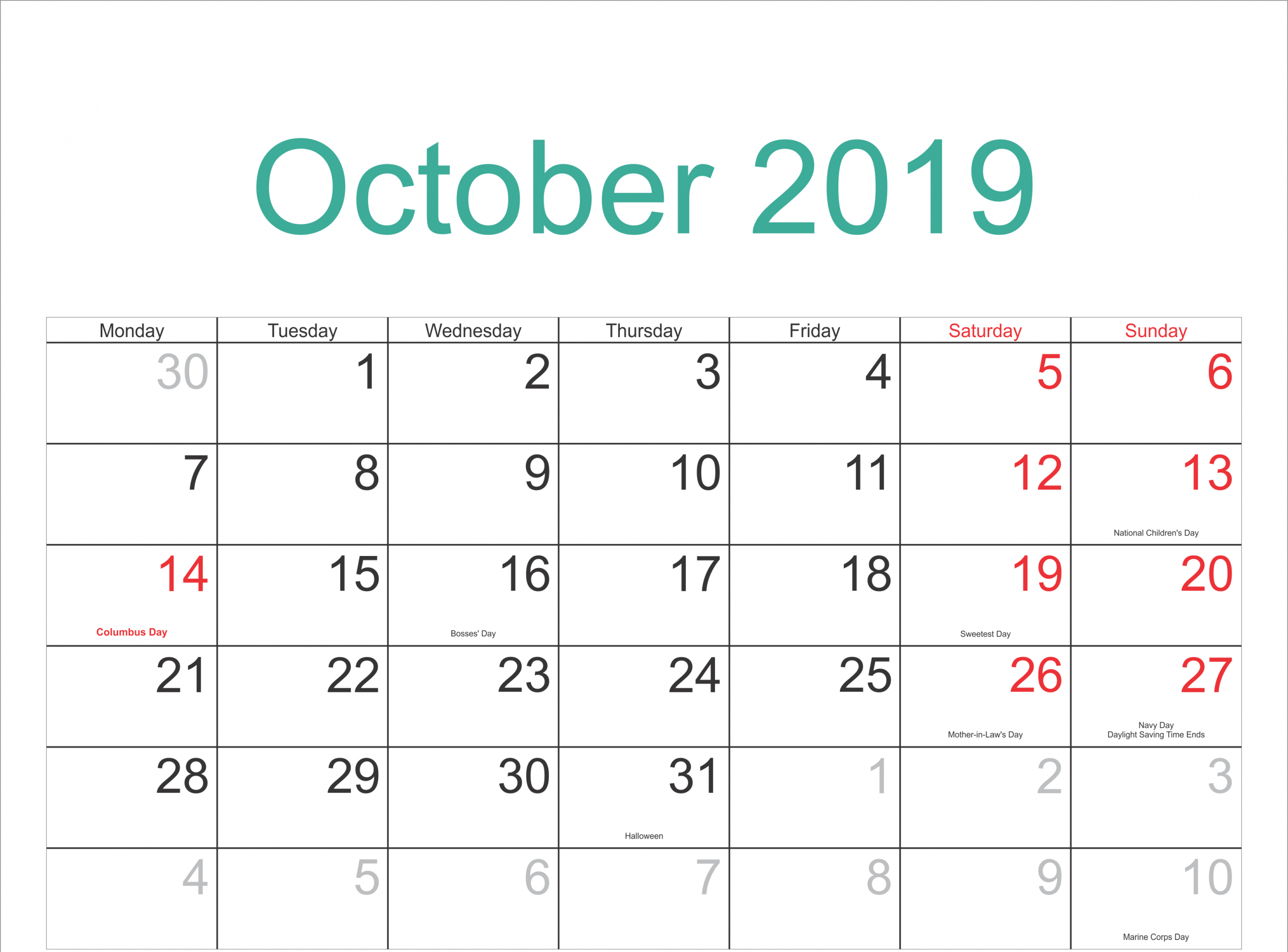 October 2019 Calendar With Holidays Template | October