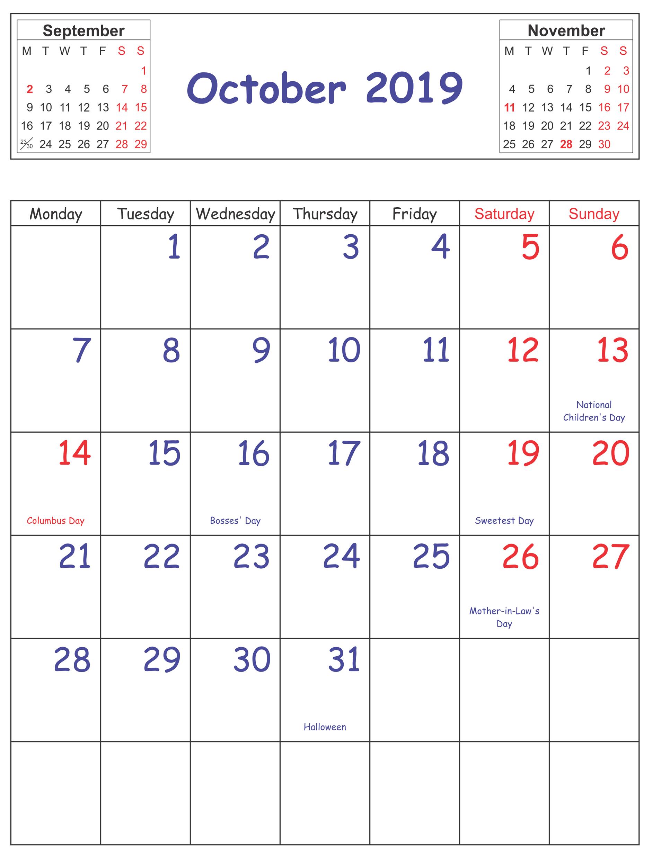 October 2019 Calendar With Holidays Usa Uk Canada India