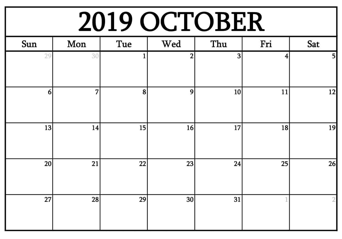 October 2019 Printable Calendar Word, Pdf By Month - Latest