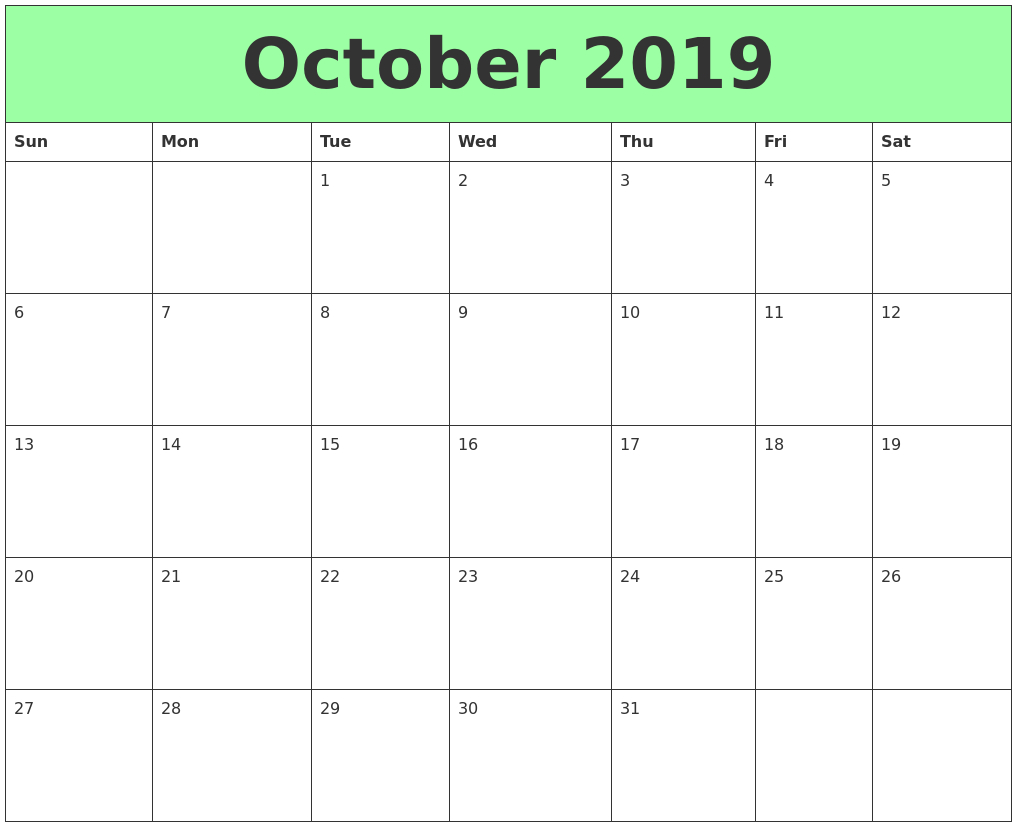 October 2019 Printable Calendars