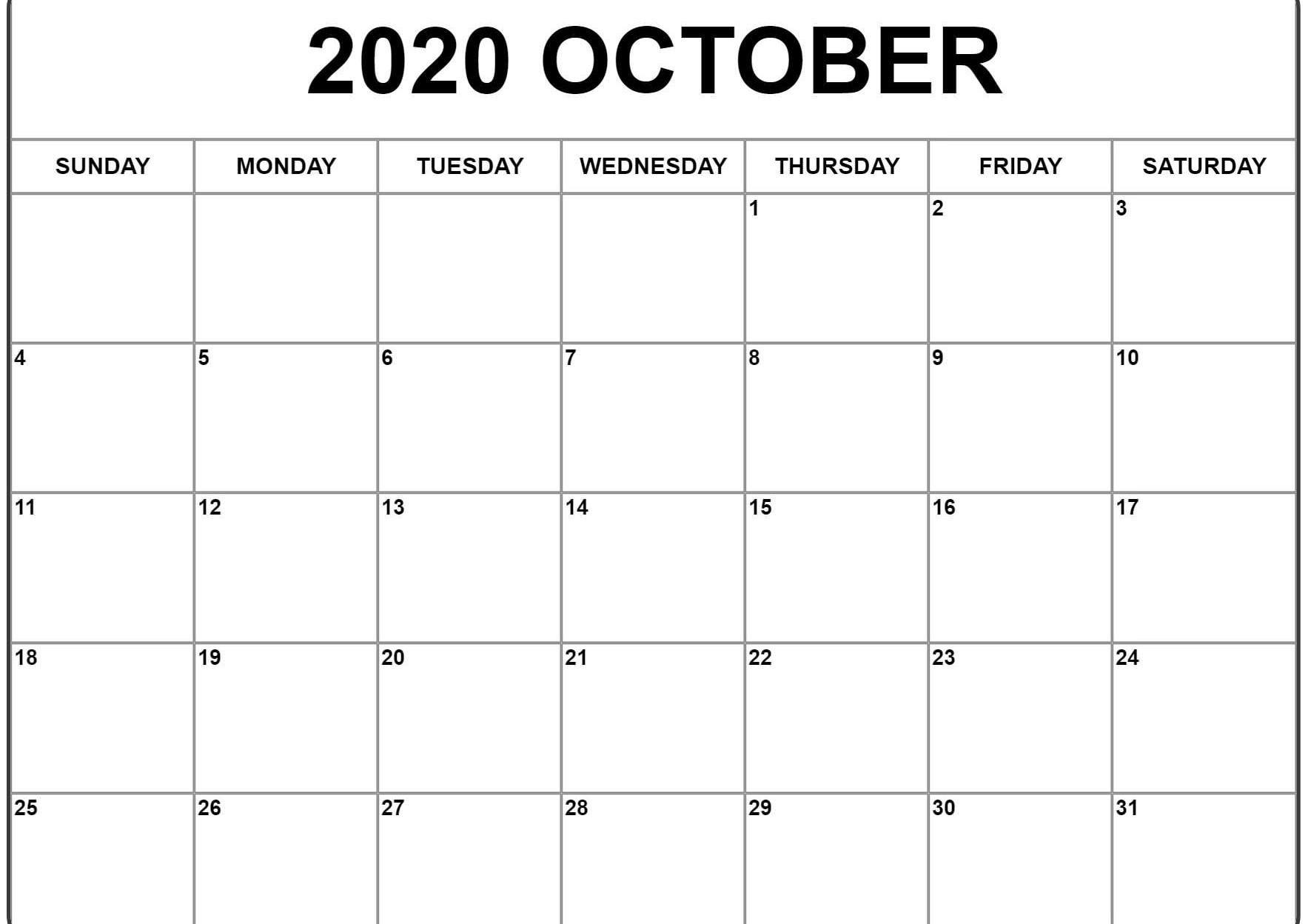 October 2020 Calendar Pdf, Word, Excel Template 2 | October