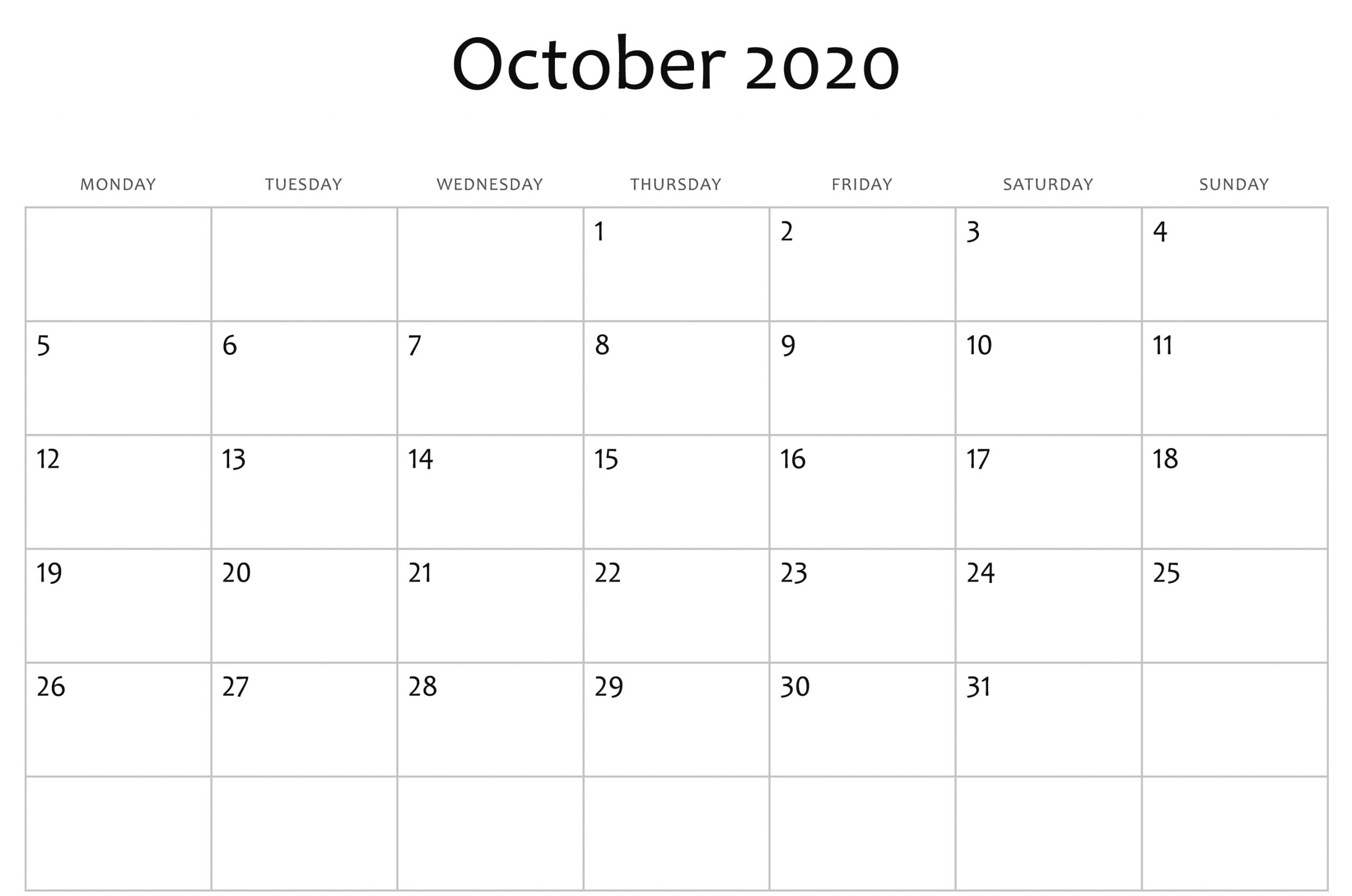 October 2020 Calendar Pdf, Word, Excel Template 3 | October