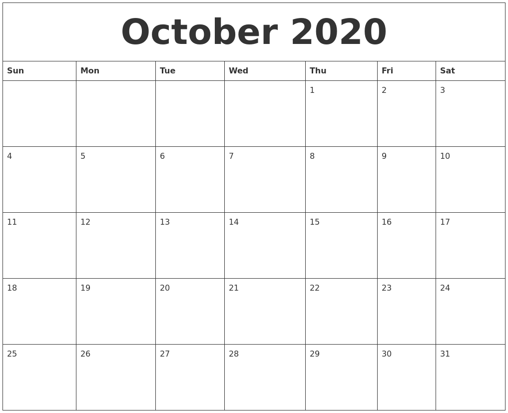 October 2020 Free Printable Monthly Calendar