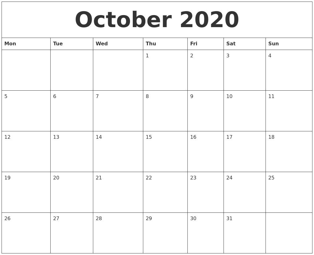 October 2020 Large Printable Calendar