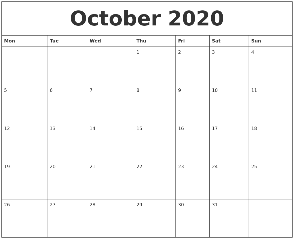 October 2020 Printable Calendar Pages