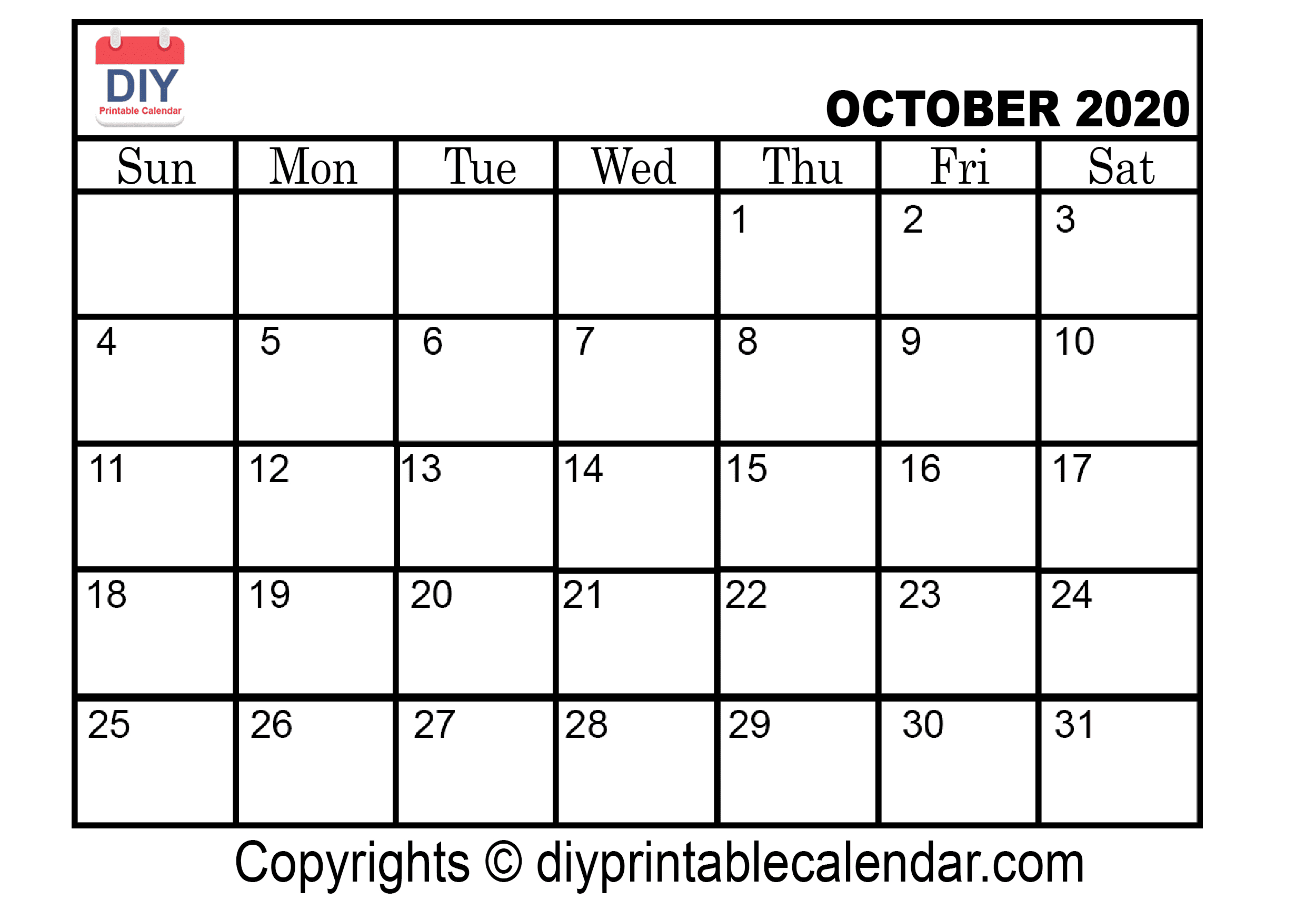October 2020 Printable Calendar Template
