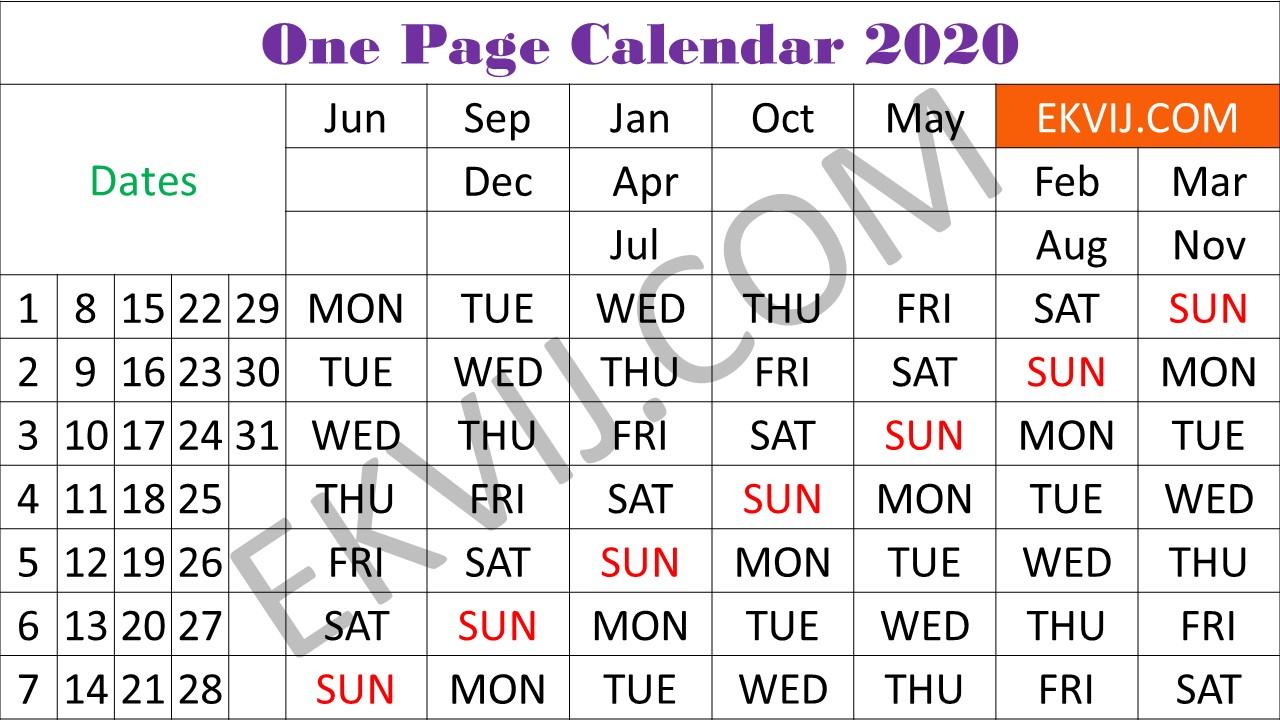 One Page Calendar - 2020 | Online Exam