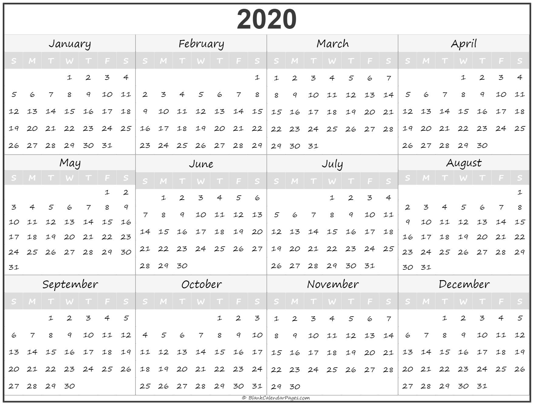 One Page Yearly Calendar 2020 - Togo.wpart.co