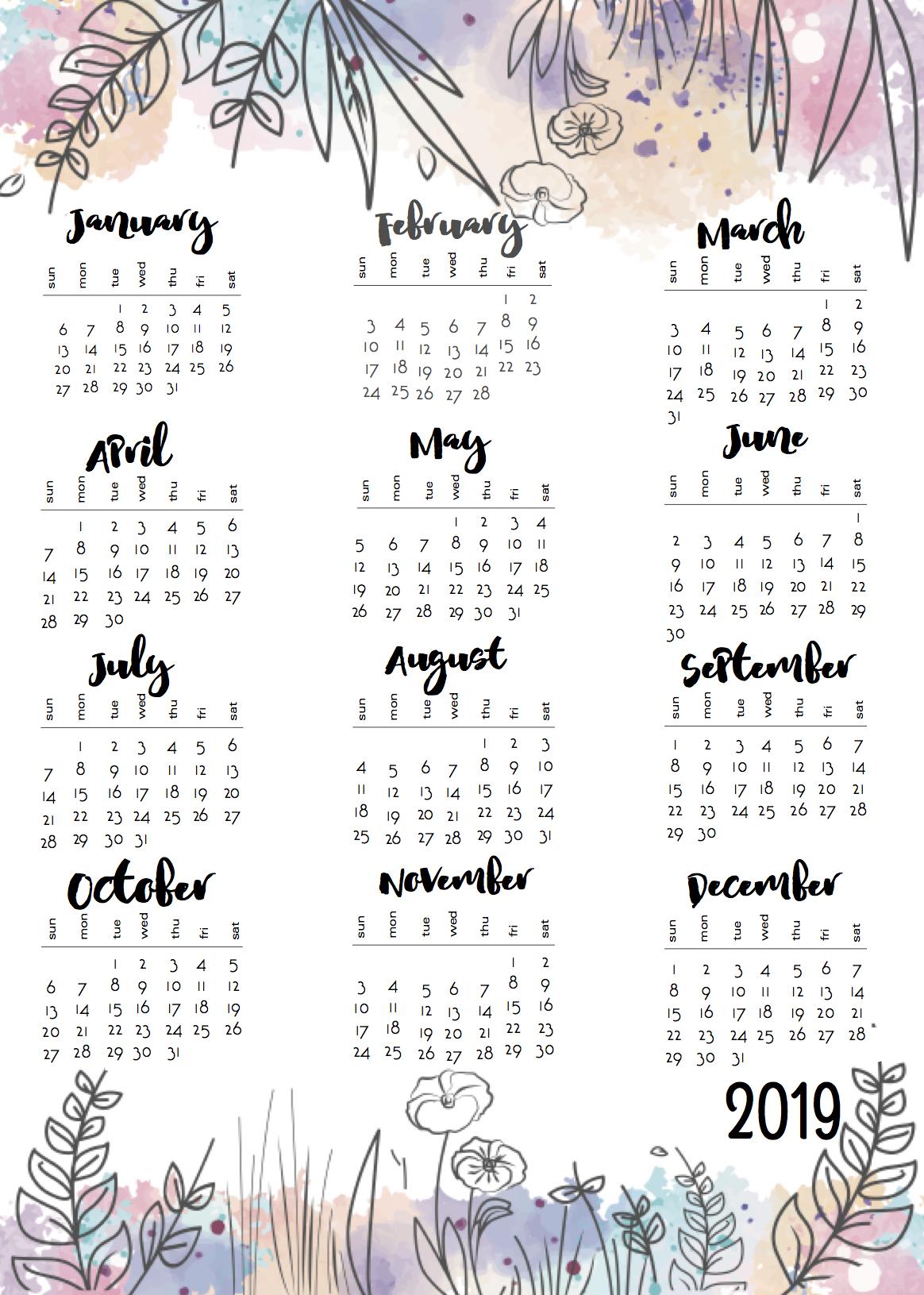 One Sheet Calendar 2019 - Yeter.wpart.co