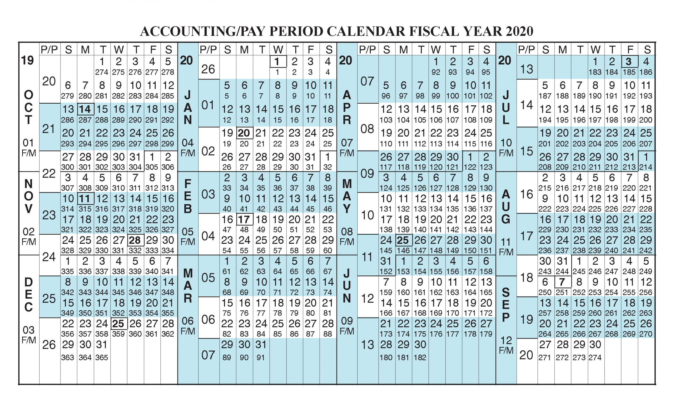 Payroll Calendar 2020 Fiscal Year Calendar [ Oct 2019 - Sep