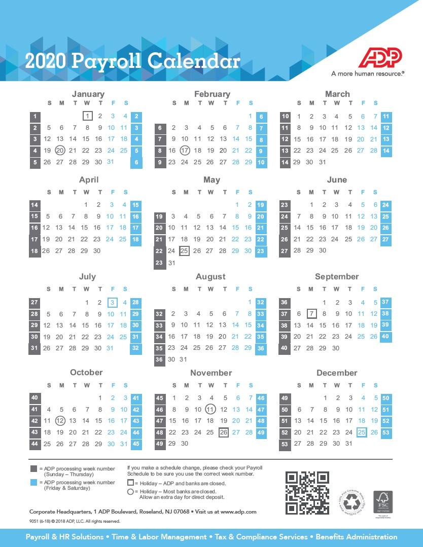 Payroll Calendar 2020   Weekly, Biweekly, Semi-Monthly