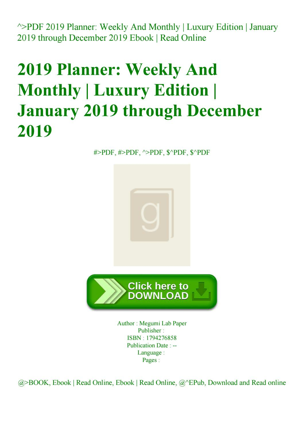 Pdf 2019 Planner Weekly And Monthly Luxury Edition January