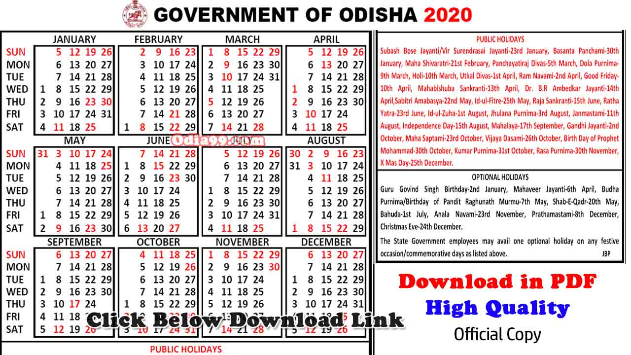 Pdf] 2020 Official Odisha Govt Calendar Download ( Printable