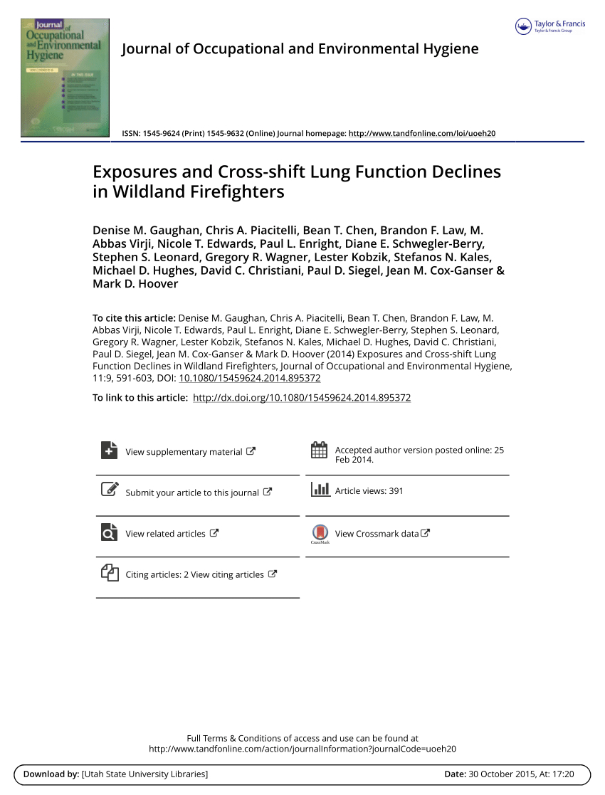 Pdf) Exposures And Cross-Shift Lung Function Declines In