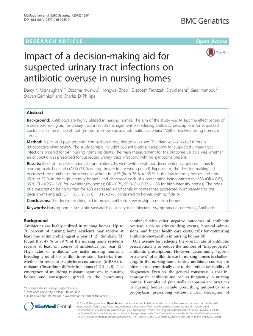 Pdf) Impact Of A Decision-Making Aid For Suspected Urinary