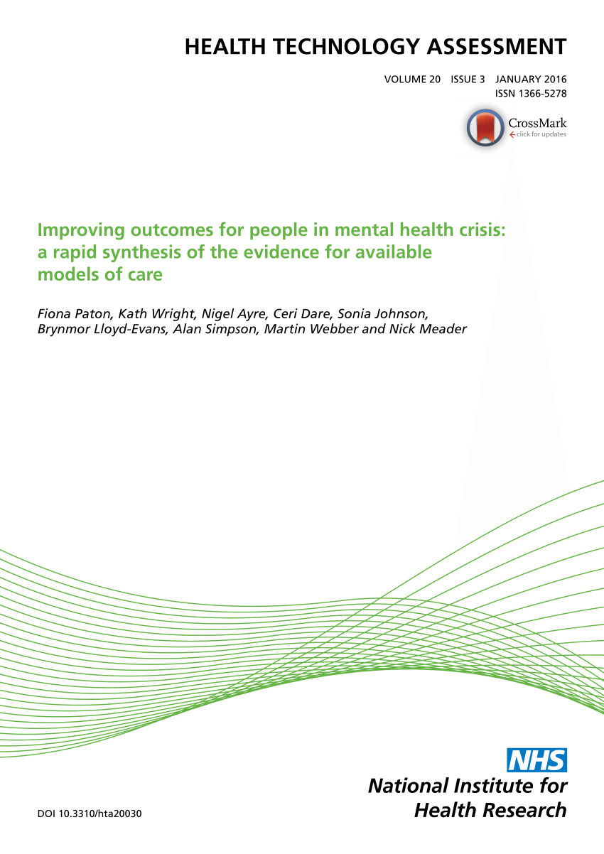 Pdf) Improving Outcomes For People In Mental Health Crisis