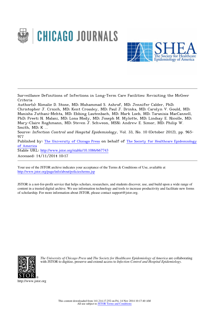 Pdf) Surveillance Definitions Of Infections In Long-Term