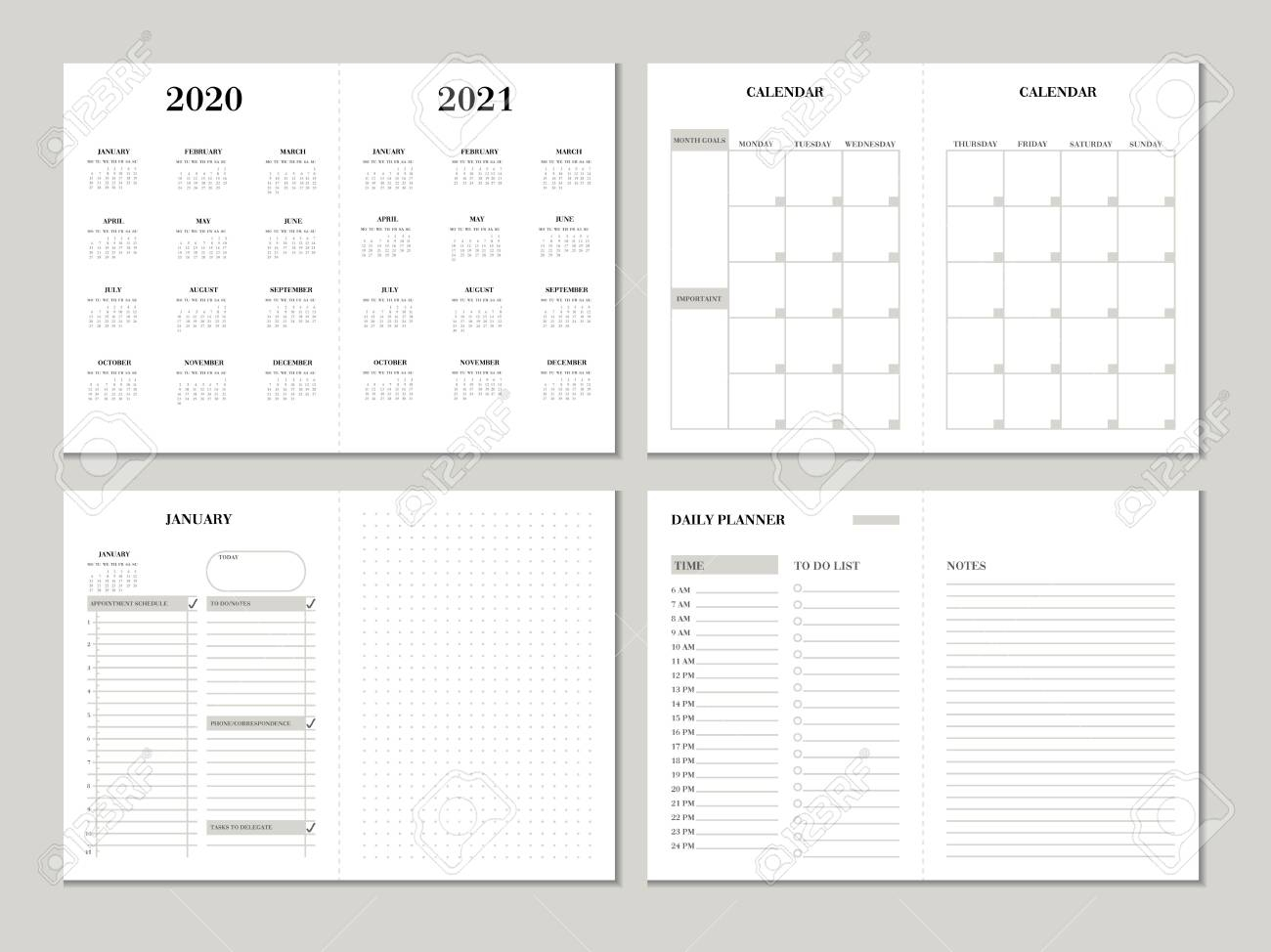 Planner Design Template For 2020 2021 Year. Weekly And Monthly..