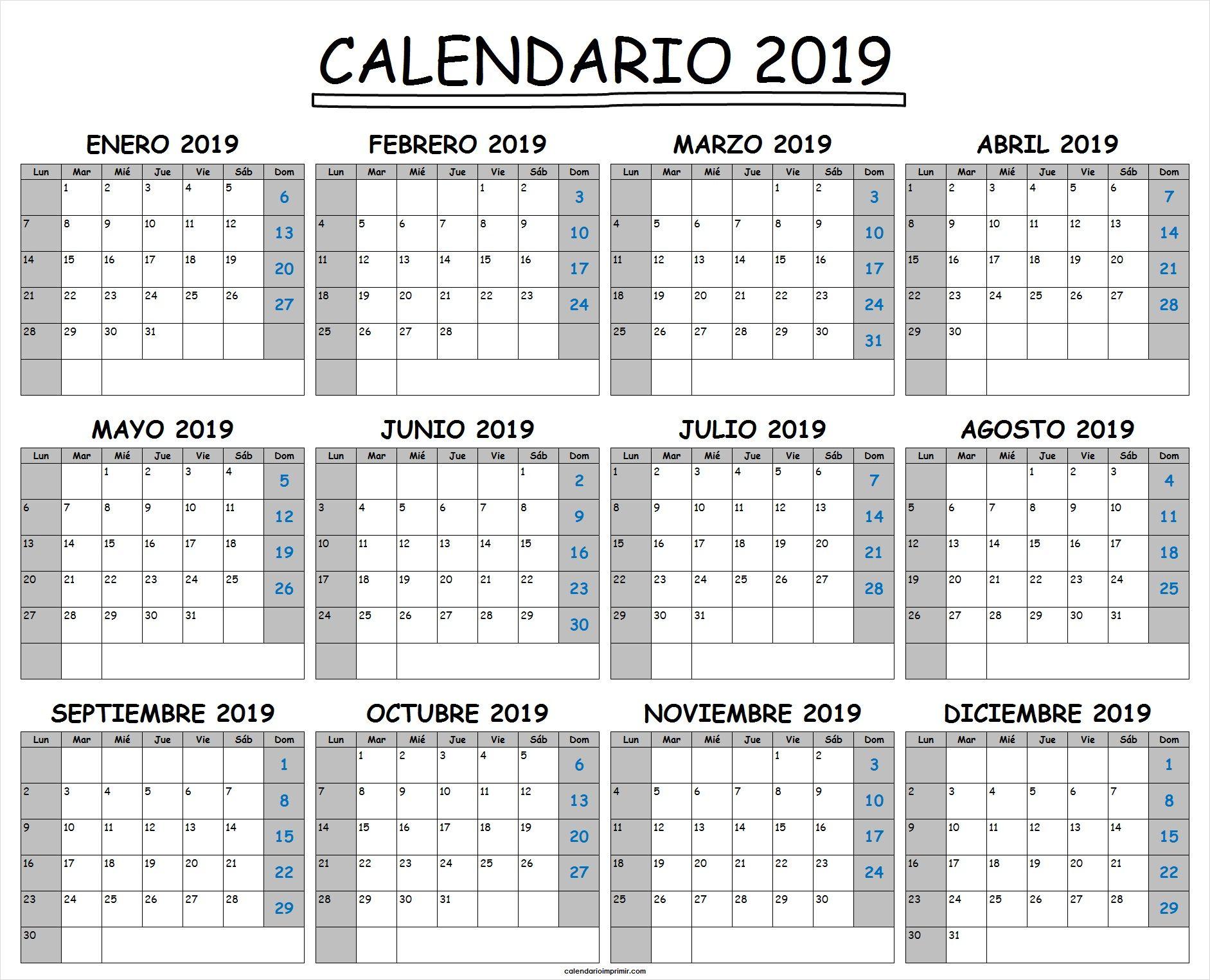 Plantilla De Calendario 2019 Excel | Plantilla Calendario