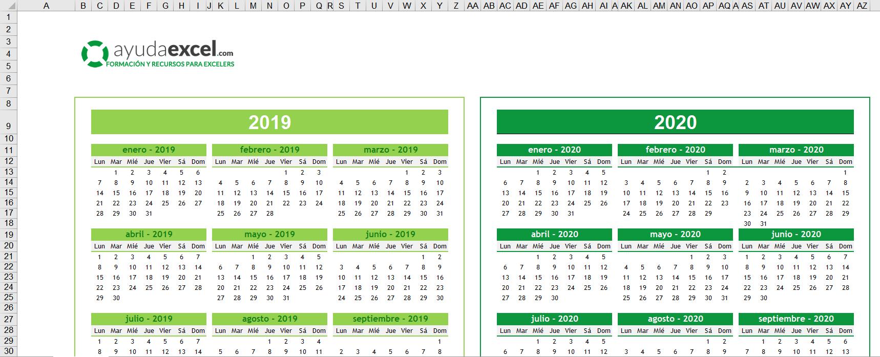Plantillas Calendario En Excel 2020 - Ayuda Excel