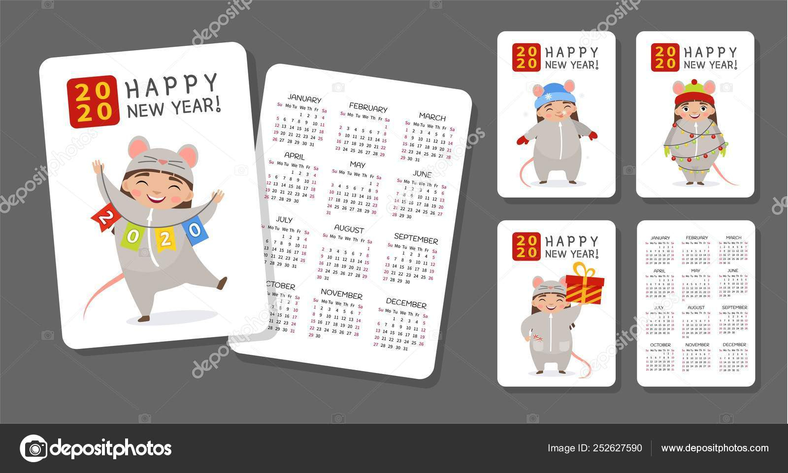 Pocket Alendar 2020 Cute Monthly Calendar Girl Mouse Costume