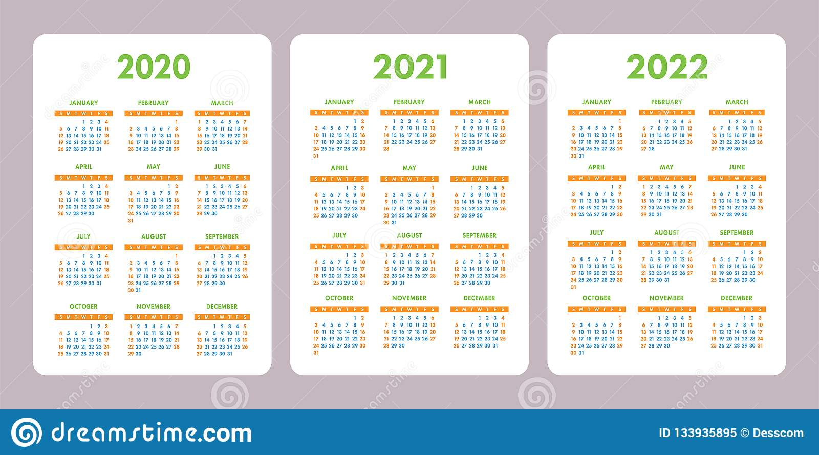Pocket Calendar 2020, 2021, 2022 Years. Vertical Vector