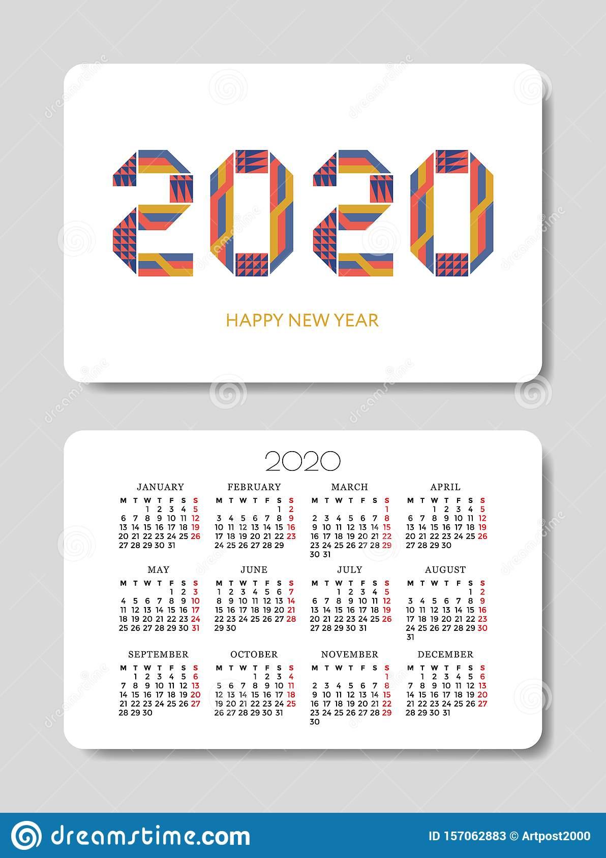 Pocket Calendar 2020 Design Template Stock Vector