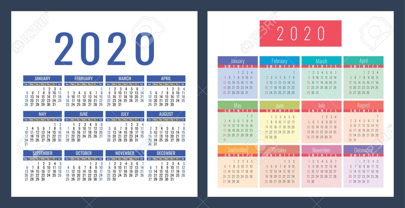 Pocket Calendar 2020 Year. Vector Calender Design Template. Colorful..