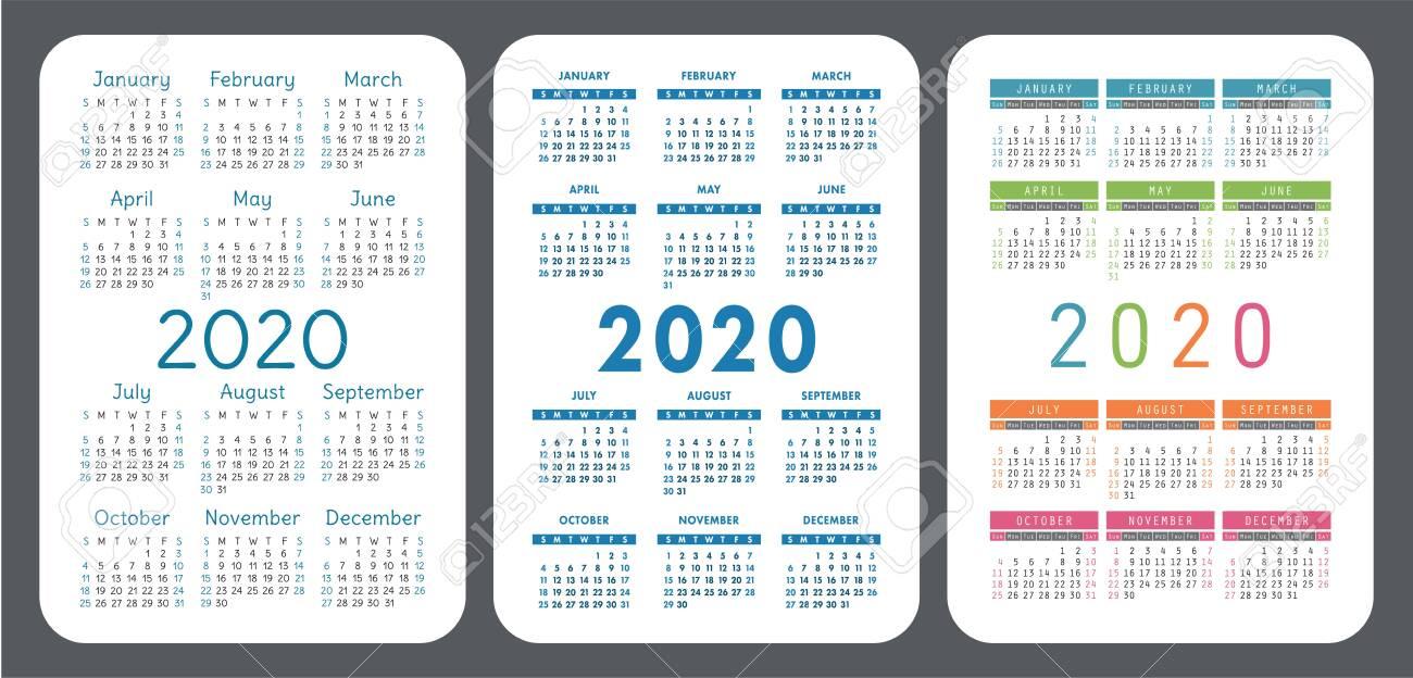 Pocket Calendar Set. 2020 Year. Vector Design Collection. Color..