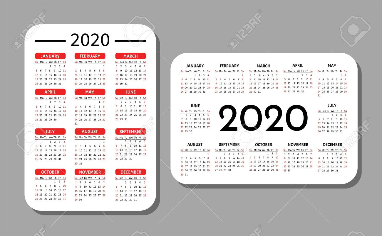 Pocket Calendar Template. Calendar Grid For 2020. Horizontal..