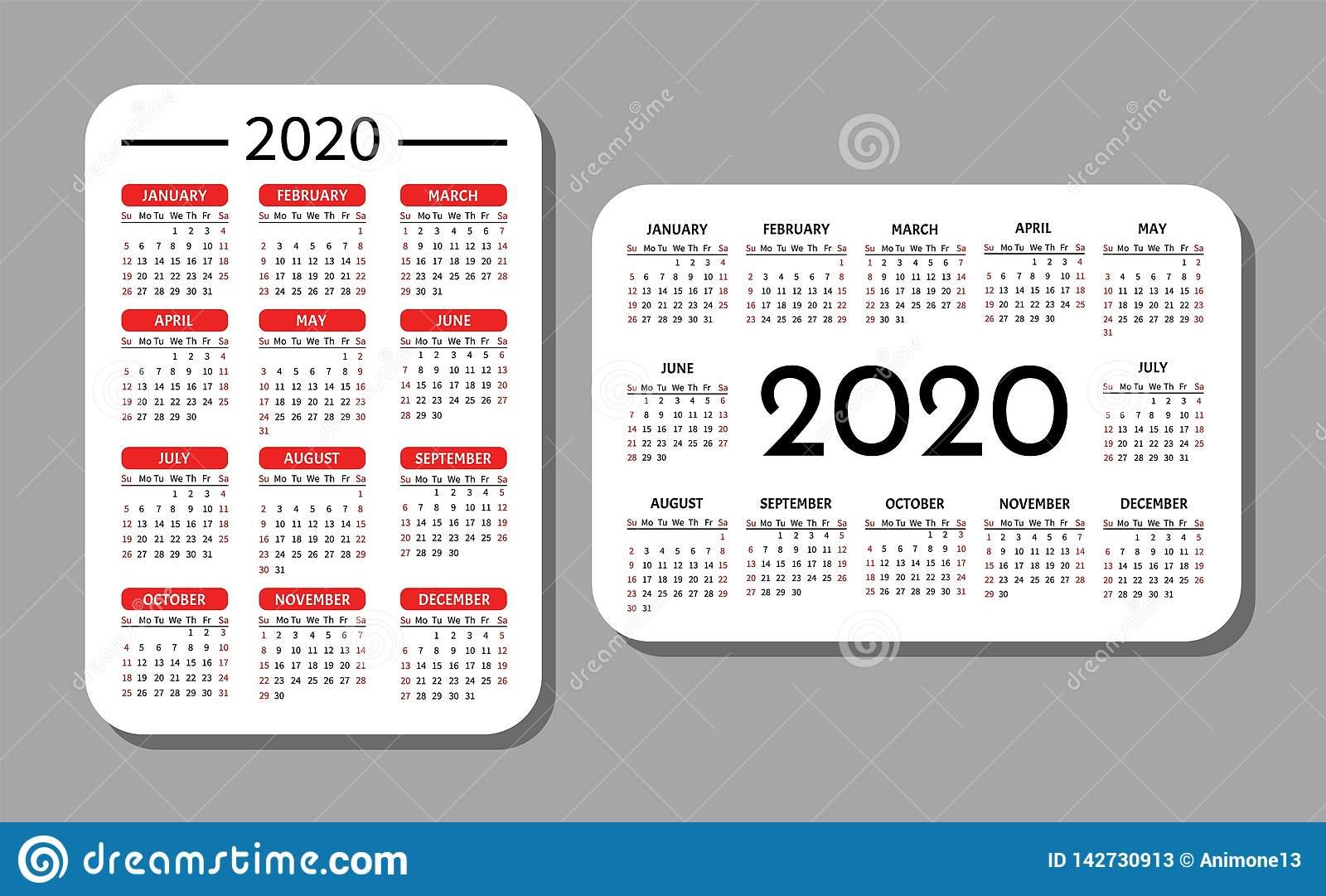 Pocket Calendar Template. Stock Vector. Illustration Of