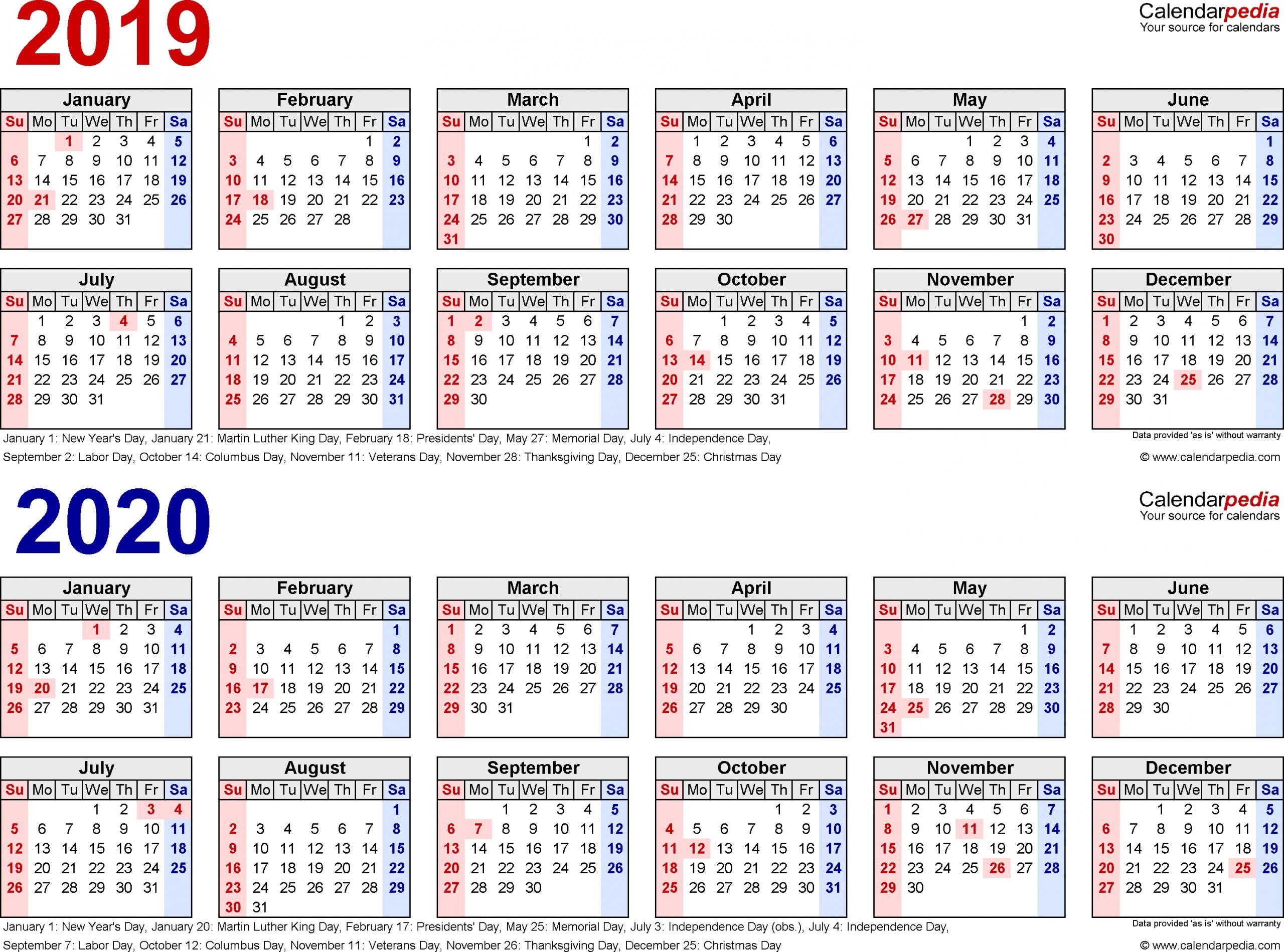 Pocket Printable 2019-2020 Calendar Free - Calendar