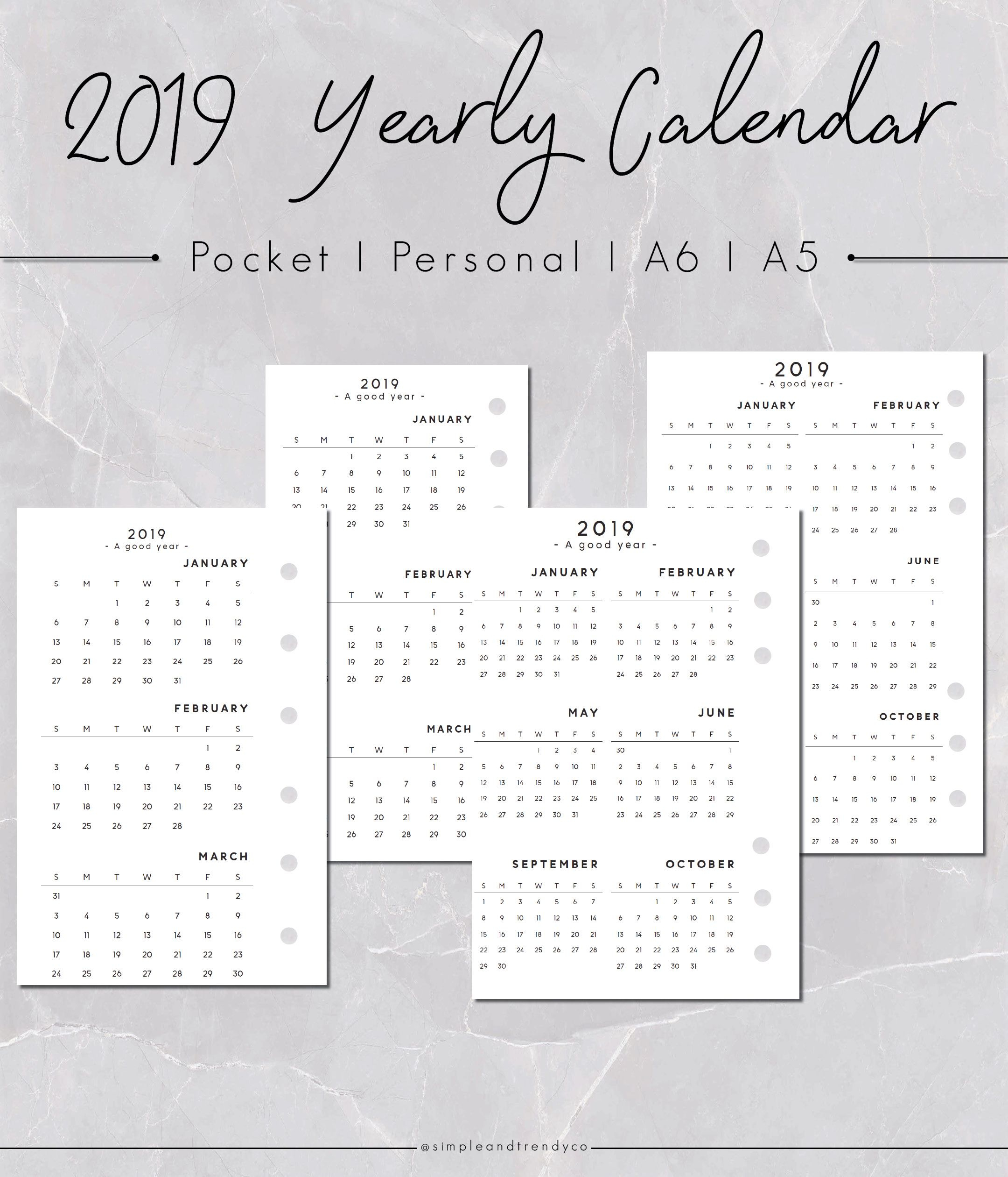 Pocket Size Calendar Printable, 2019 Pocket Calendar Sunday