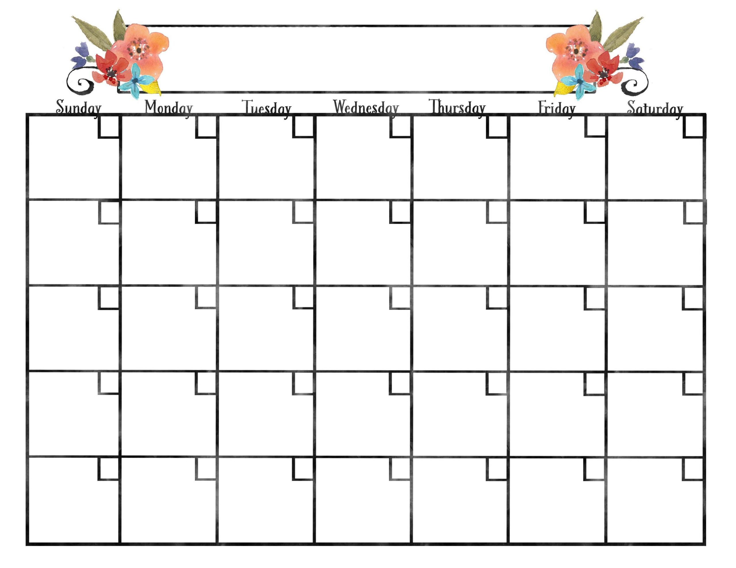 Pretty Blank Calendar - Wpa.wpart.co