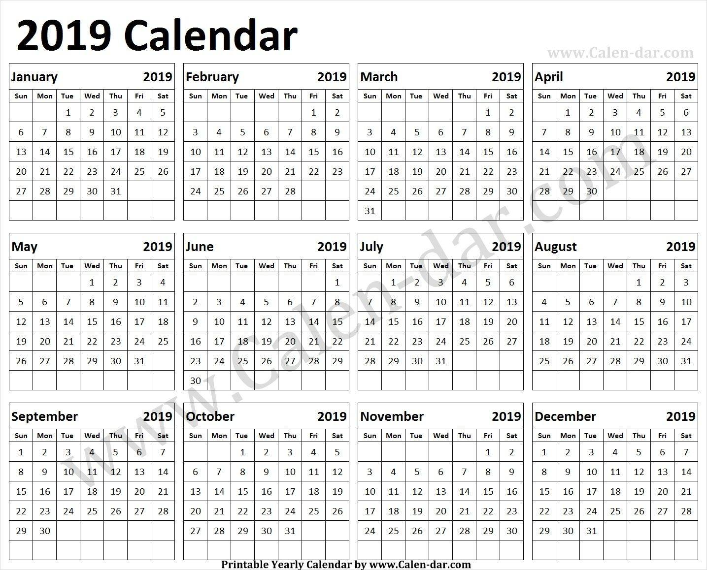 Print 2019 Calendar One Page | 2019 Calendar, First Page