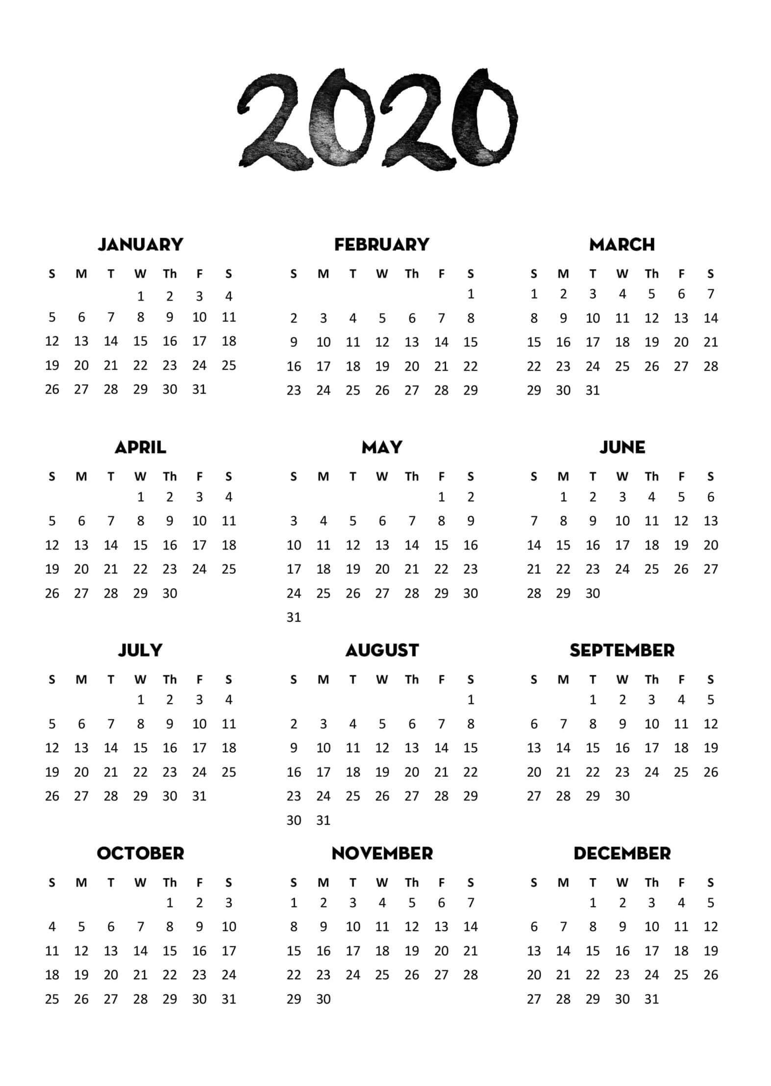 Print 2020 Year Calendar - Togo.wpart.co