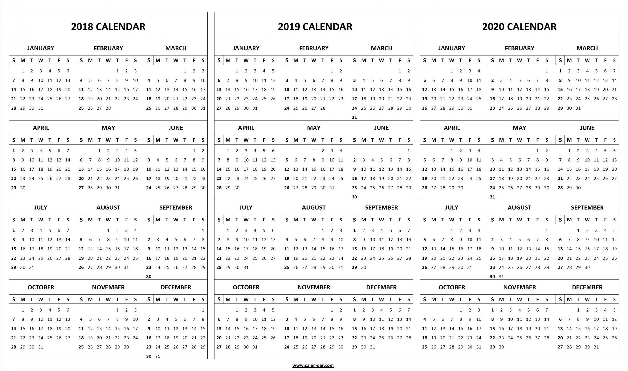 Print Blank 2018 2019 2020 Calendar Template | 2019 Calendar
