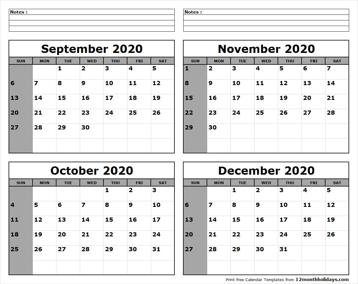 Print Four Month September October November December 2020