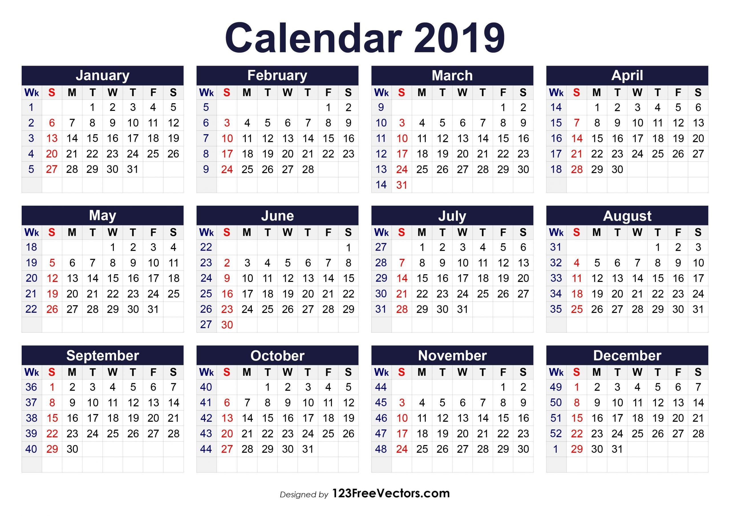 Pick 2019 Calendar With Week Numbers