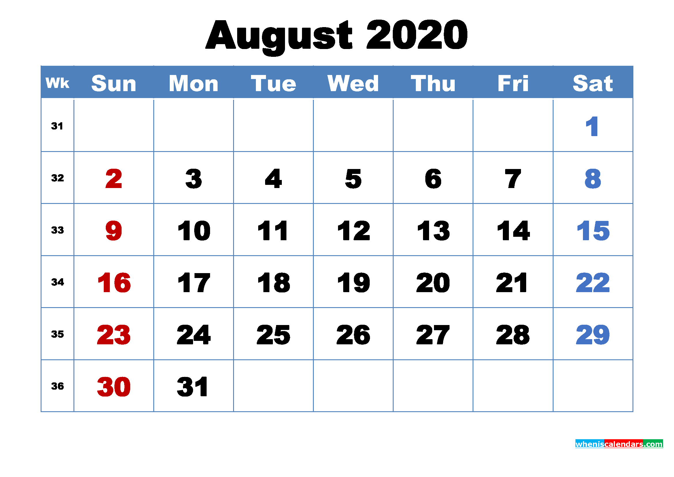 Printable 2020 Calendar By Month August | Free Printable