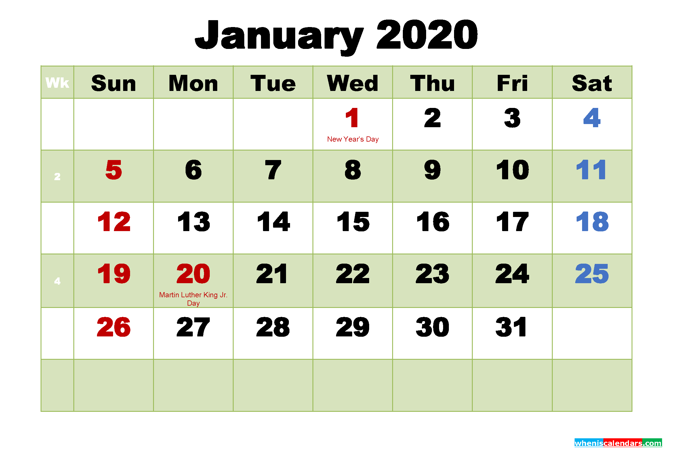 Printable 2020 Calendar By Month January | Free Printable