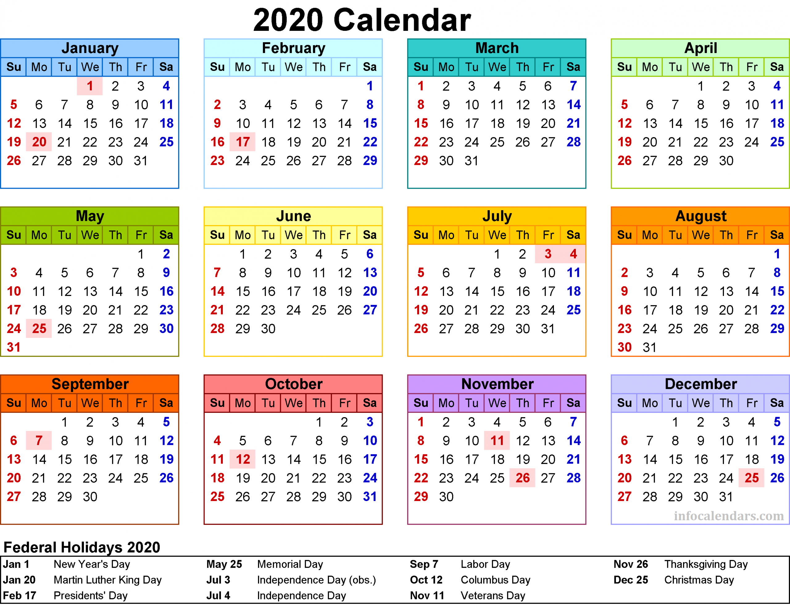 Printable 2020 Calendar For Your Yearly Trip - Infocalendars