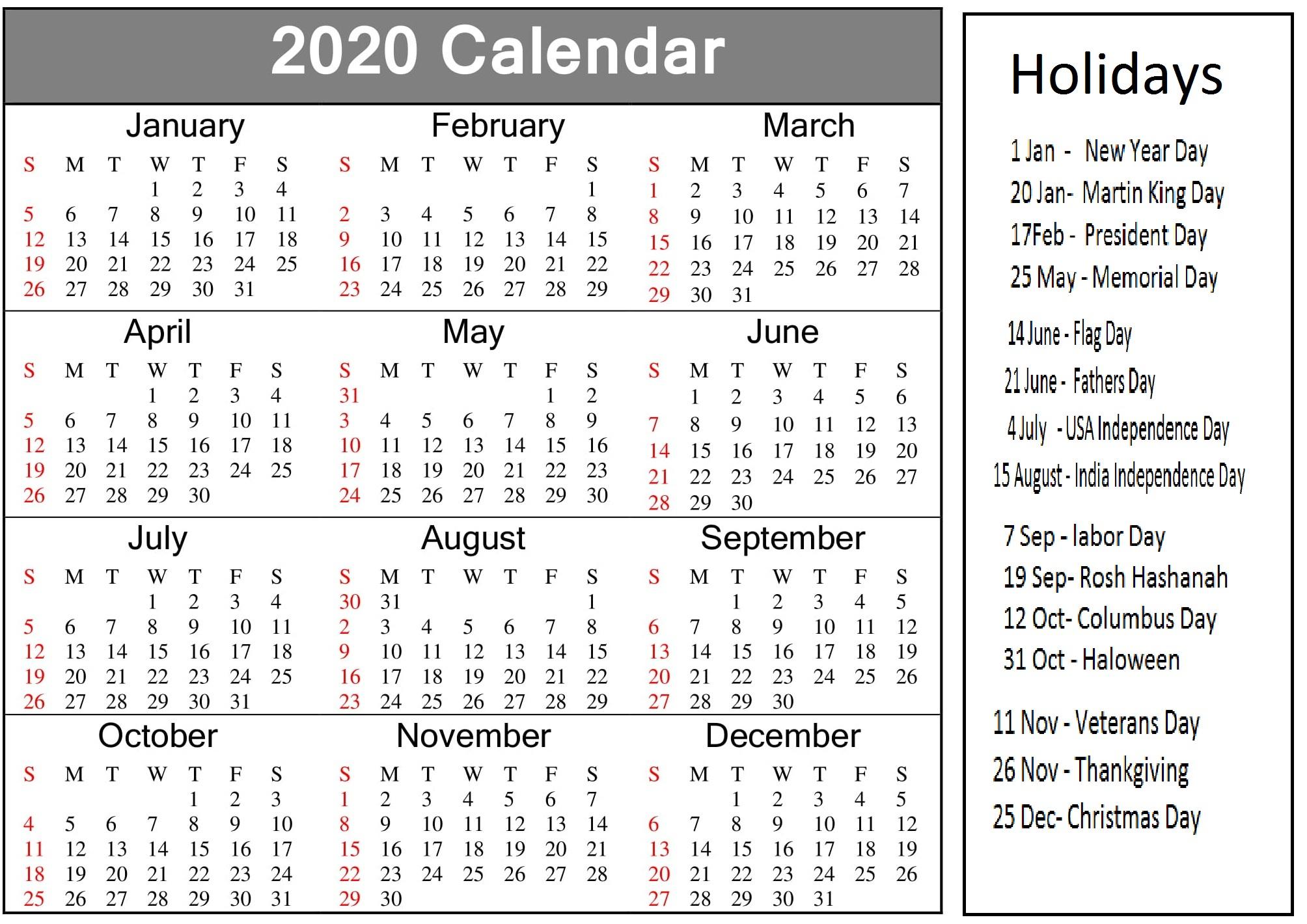 Printable 2020 Calendar With American Holidays - Latest