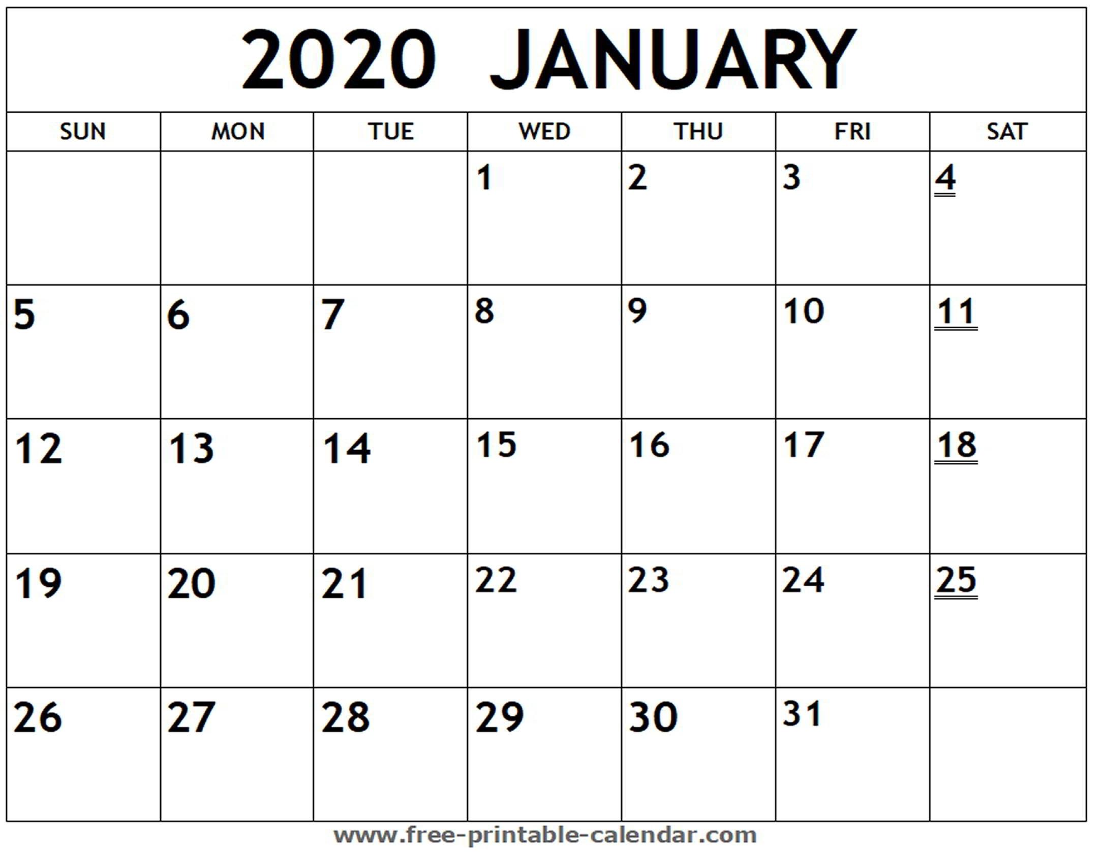 Printable 2020 Monthly Calendar Free – Urgup.ewrs2018