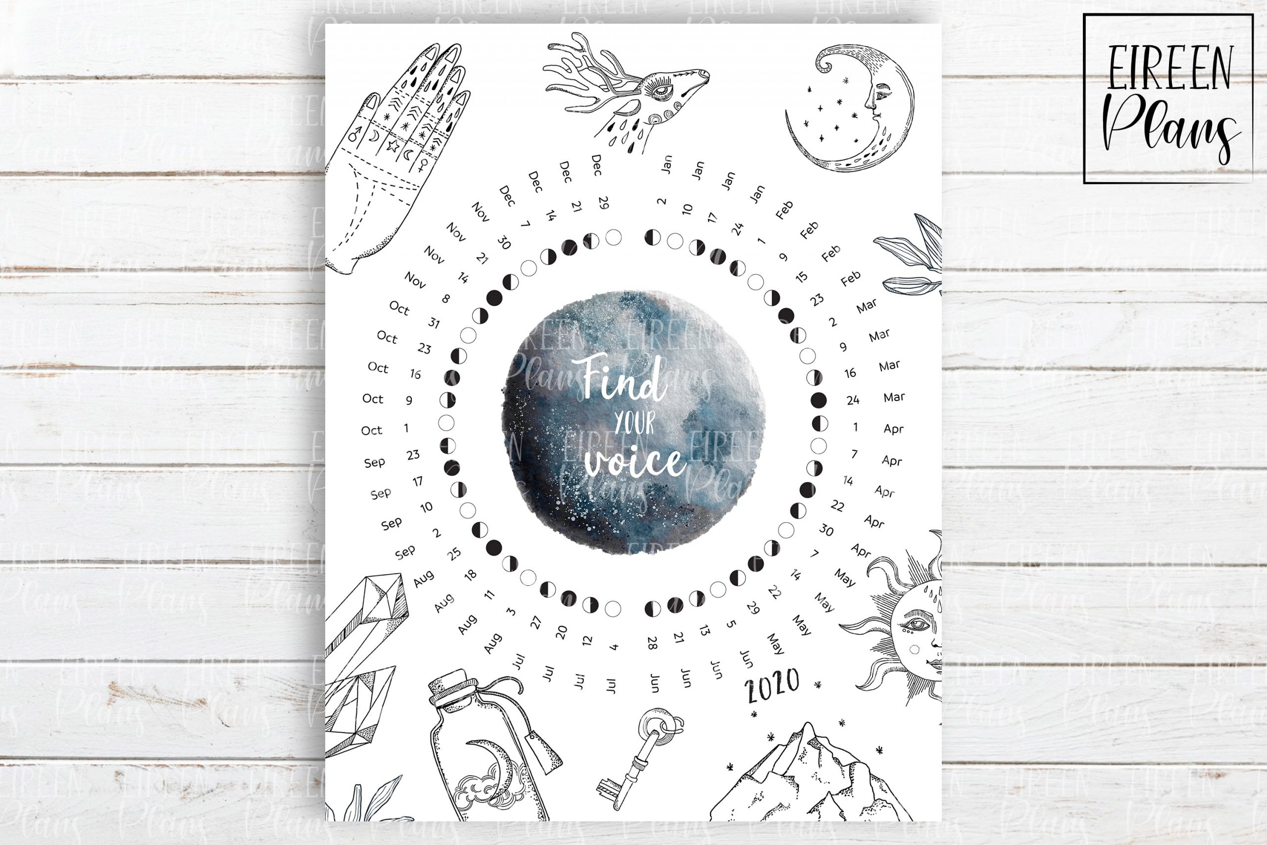 Printable 2020 Moon Phases Calendar
