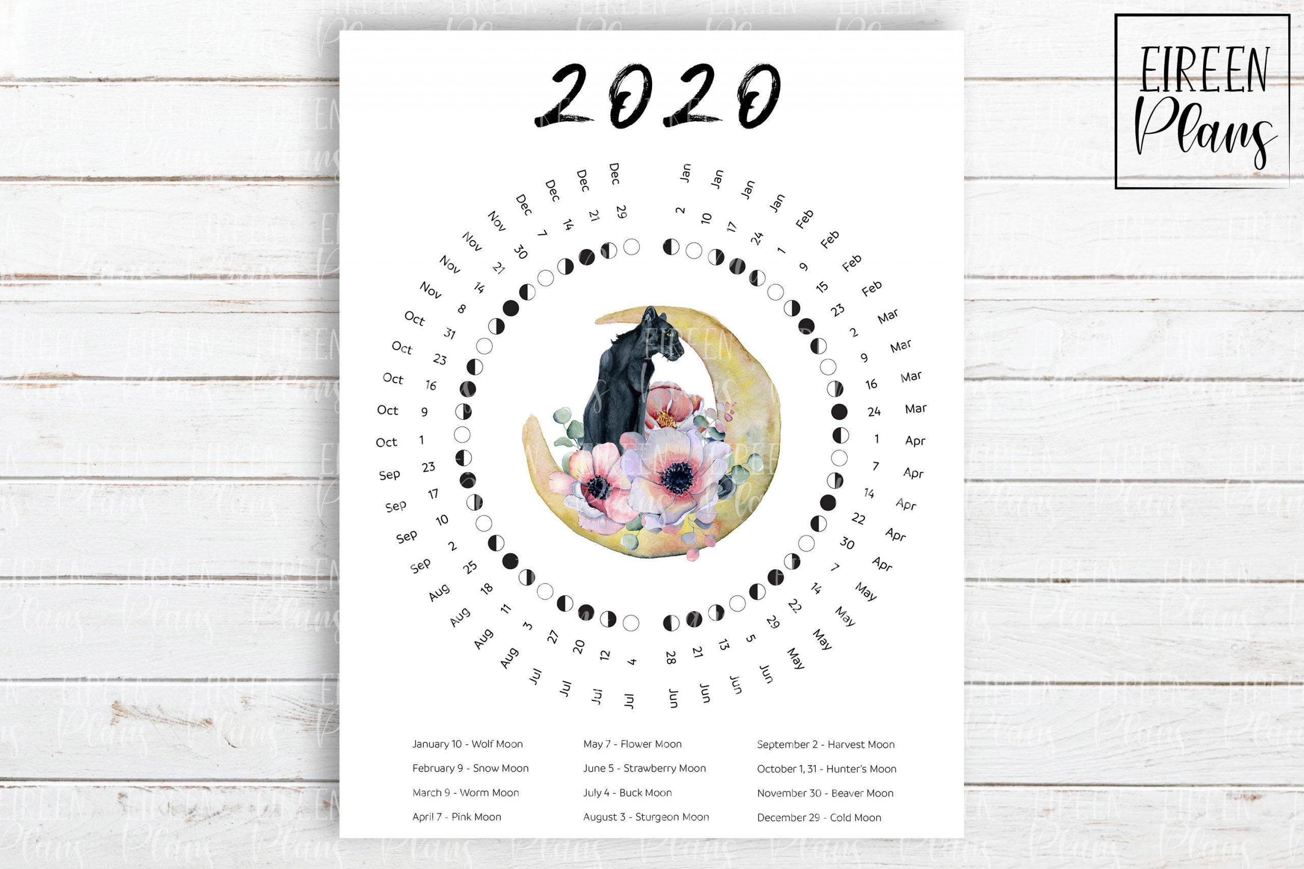 Printable 2020 Moon Phases Calendar With Moon Names